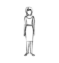blurred sketch contour body faceless woman with vector image