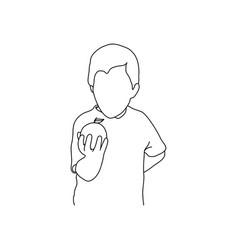 boy holding round fruit vector image