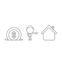 businessman character with dollar money into vector image