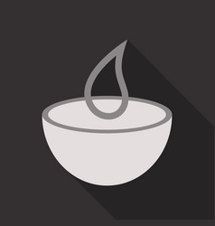 candle in a bowl with pine branches new year vector image