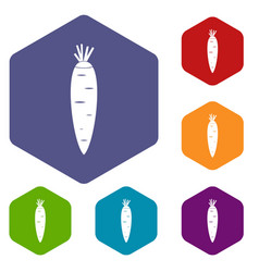 carrot icons set vector image