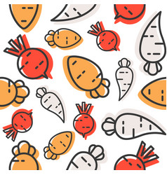 carrot radish and beetroot seamless pattern vector image