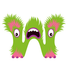 cartoon capital letter w from monster alphabet vector image