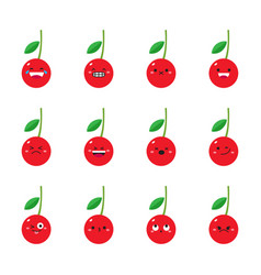cherry modern flat emoticon set vector image