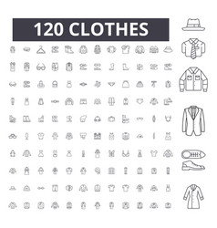 clothes editable line icons 100 set vector image