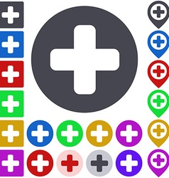 Color plus icon set vector