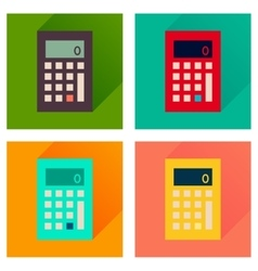 Concept of flat icons with long shadow calculator vector