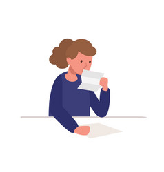 cute girl sitting at desk and reading letter vector image