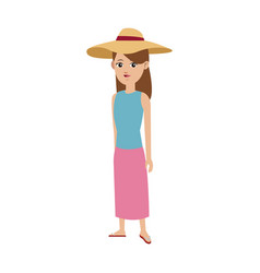 cute girl tourist travel clothes hat vector image