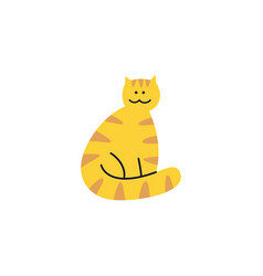 cute tabginger cat sits with wrapped tail vector image