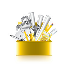 engineer tools box isolate vector image