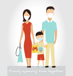 family spends time together in a protective vector image