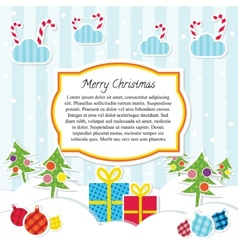 flat style scrapbooking christmas background vector image