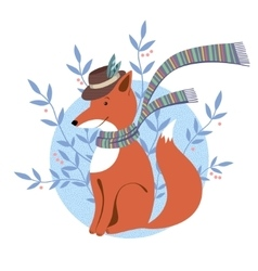 Funny foxy with scarf vector