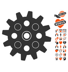 Gearwheel icon with dating bonus vector