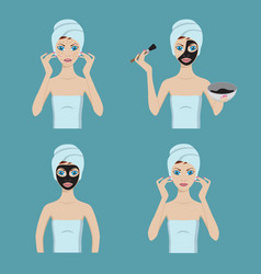 girl applies cosmetic mask on her face vector image