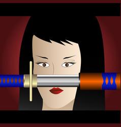 Girl with the katana vector