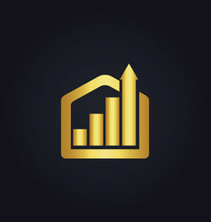 Gold business construction arrow logo vector