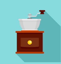 Hand coffee grinder icon flat style vector
