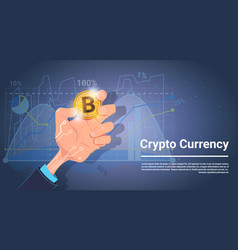 Hand hold bitcoin over charts and graphs vector