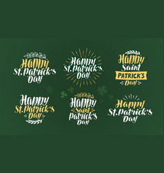 Happy st patricks day label set irish holiday vector