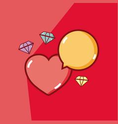 Heart and diamonds vector