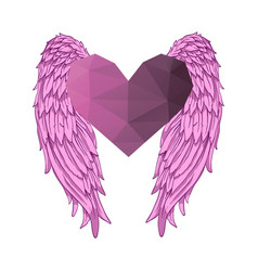 Heart with angel wings valentines day banner vector