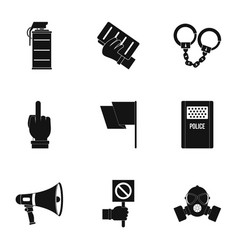 Human protester icon set simple style vector