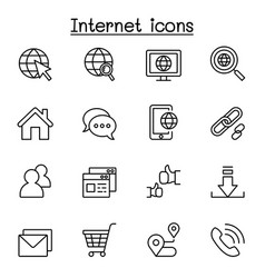 internet browser icon set in thin line style vector image