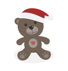 Isolated christmas teddy bear on a white vector