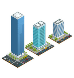 isometric set city houses composition vector image