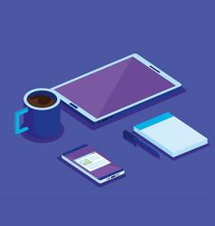 isometric smartphone digital technology vector image