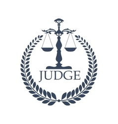 Justitia weigher or scales and laurel wreath vector