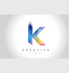k paintbrush letter design with watercolor brush vector image