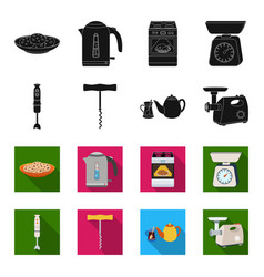 kitchen equipment blackflet icons in set vector image