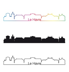 le havre skyline linear style with rainbow vector image