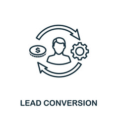 lead conversion outline icon thin line concept vector image