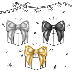 Luxury bows set- black silver and gold knots vector