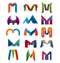 M letter icons template company brand name vector