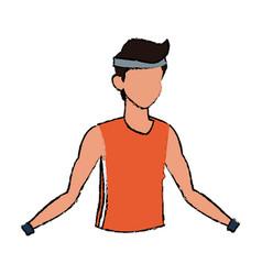 Male character portrait man sport figure vector