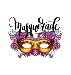 Masquerade lettering logo design with mask and vector
