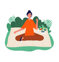 meditation concept relaxing outdoor yoga woman vector image