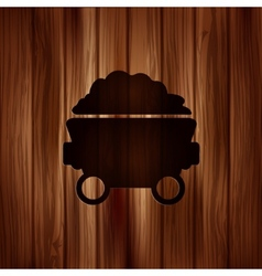 Mining coal cart iconWooden background vector