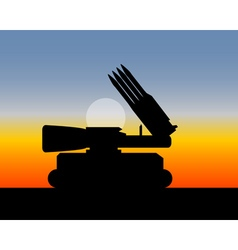 Missile launcher with four missiles vector