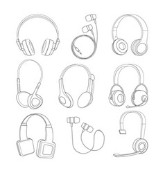 Mono line pictures set of headphones vector