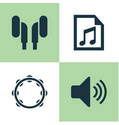 music icons set collection of file timbrel vector image