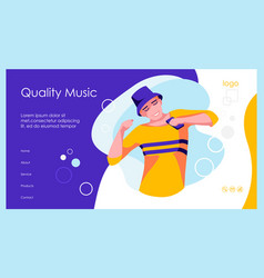 Music online landing page template vector