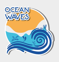 Natural ocean waves with nice lanscape vector