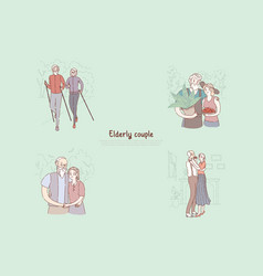 old married pair husband and wife on sportive vector image