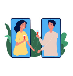 online dating loving couple drinks wine love vector image